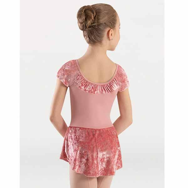 body wrappers 2415 girls frosty velvet extended shoulder skirted leotard dress back