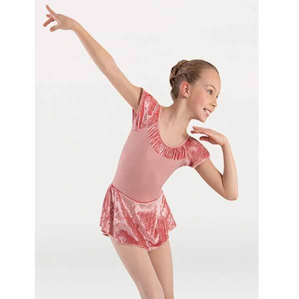 body wrappers 2415 girls frosty velvet extended shoulder skirted leotard dress front