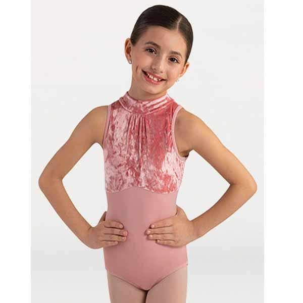 body wrappers 2416 girls frost velvet sleeveless mock neck leotard front