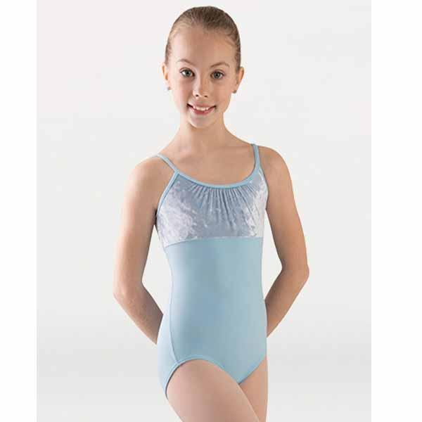 body wrappers 2417 girls frosty velvet camisole leotard front