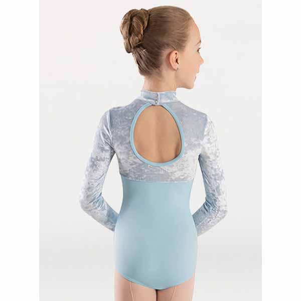 body wrappers 2418 girls frosty velvet long sleeve mock neck long sleeve leotard back
