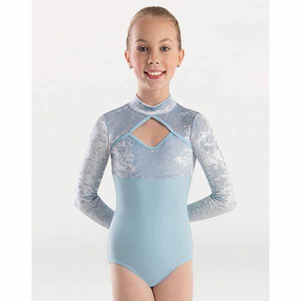 body wrappers 2418 girls frosty velvet long sleeve mock neck long sleeve leotard front