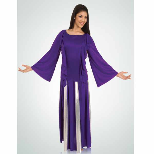 body wrappers 575 girls polyester praise robe purple-silver