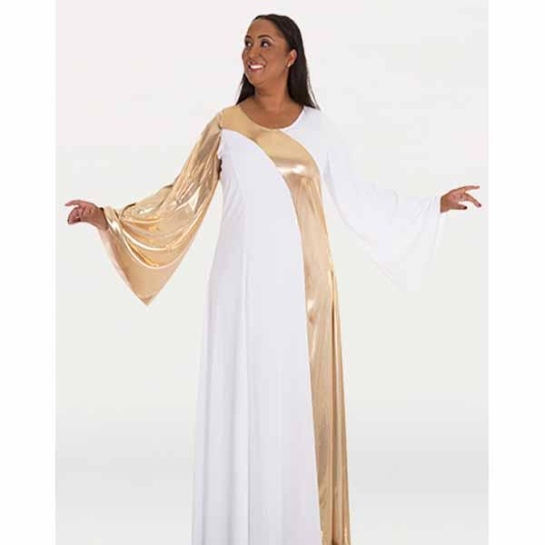 body wrappers 592 womens asymmetrical bell sleeve dress white/gold