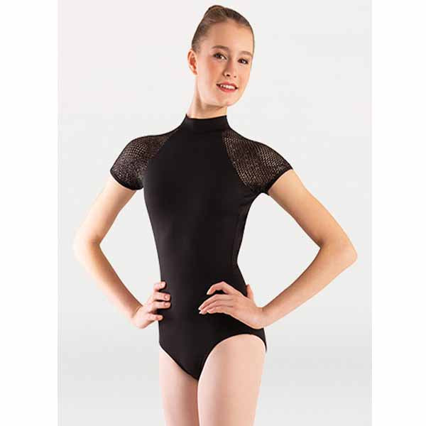 body wrappers p1160 womens tiler peck fine mesh stripe cap sleeve leotard black