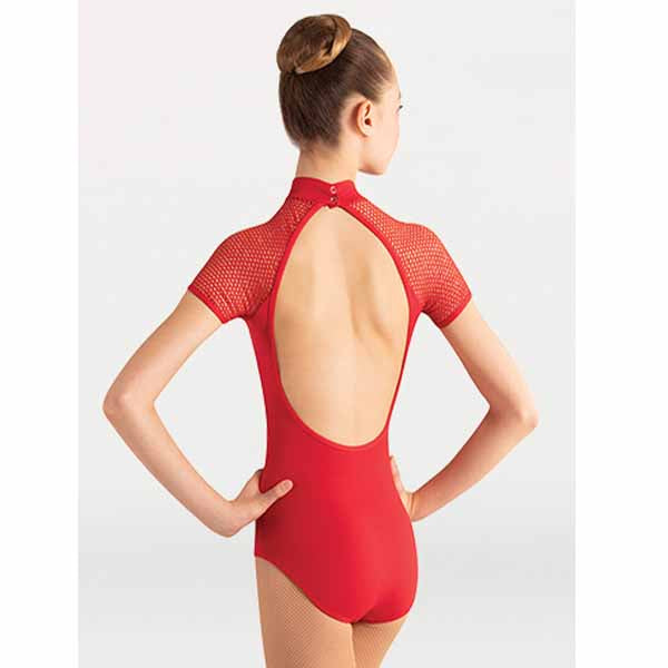 body wrappers p1160 womens tiler peck fine mesh stripe cap sleeve leotard scarlet back