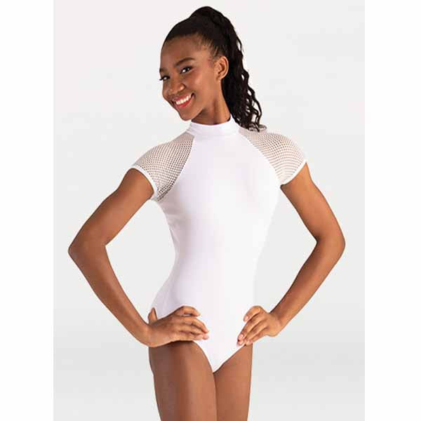 body wrappers p1160 womens tiler peck fine mesh stripe cap sleeve leotard white
