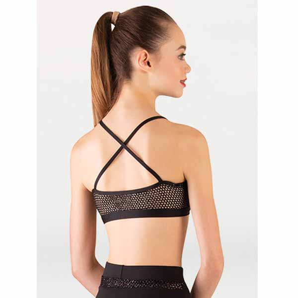 body wrappers p1162 girls tiler peck open mesh camisole bra black back