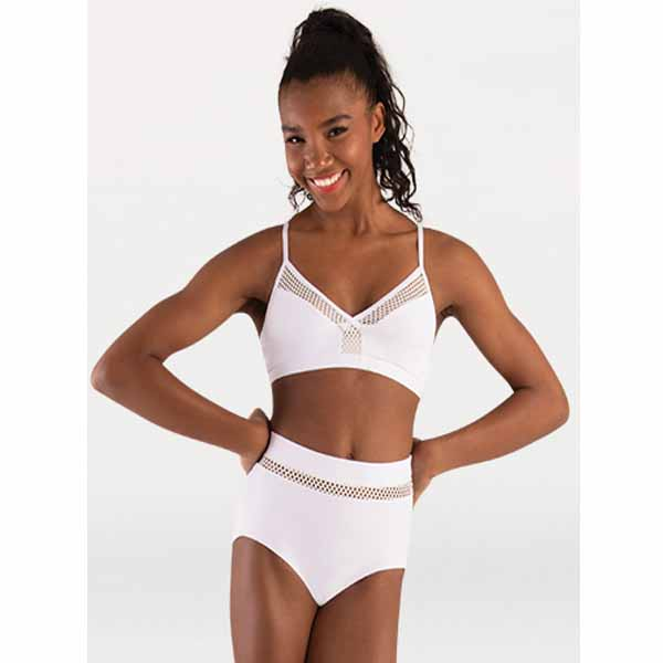 body wrappers p1162 girls tiler peck open mesh camisole bra white