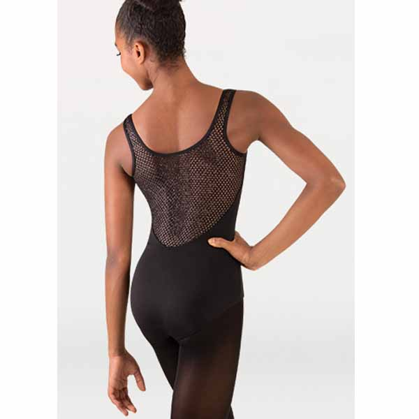 body wrappers p1163 girls tiler peck open mesh tank black back