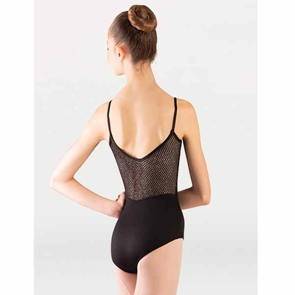 body wrappers p1164 womens tiler peck open mesh camisole leotard black back