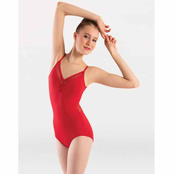 body wrappers p1164 womens tiler peck open mesh camisole leotard scarlet