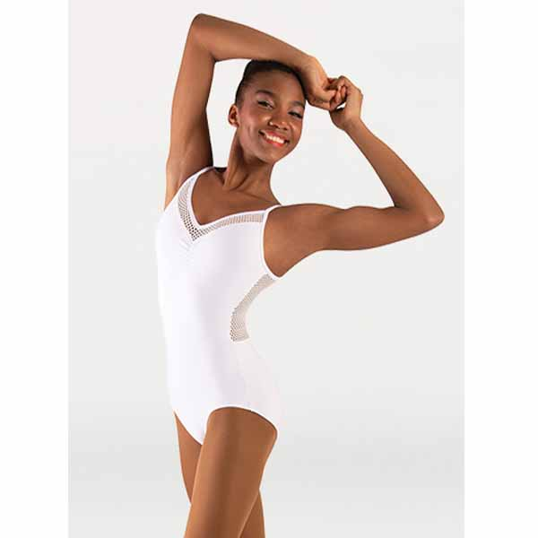 body wrappers p1164 womens tiler peck open mesh camisole leotard white