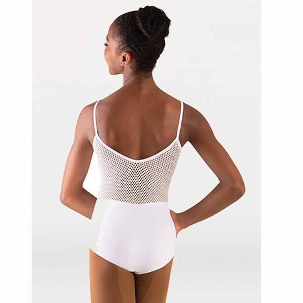 body wrappers p1164 womens tiler peck open mesh camisole leotard white back