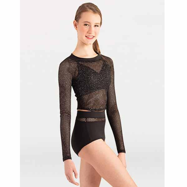 body wrappers p1165 womens open mesh long sleeve crop pullover black front