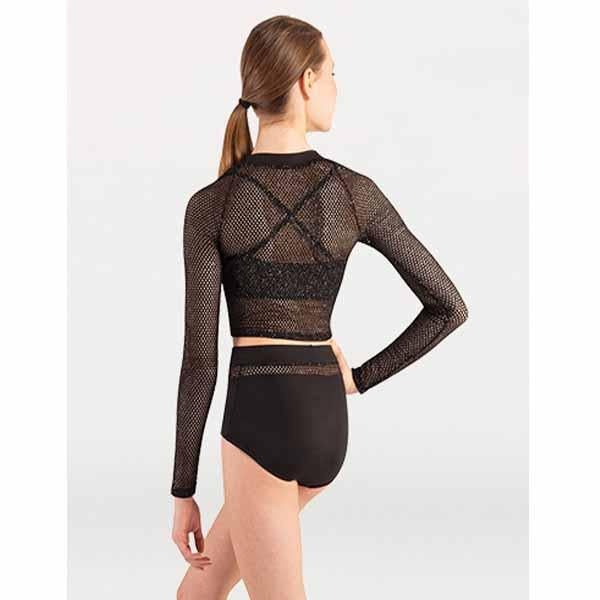 body wrappers p1165 open mesh long sleeve crop pullover back