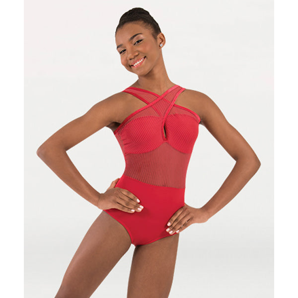 Body Wrappers P1230 Womens Tiler Peck Fine Mesh Strip Cross-Over Front Leotard
