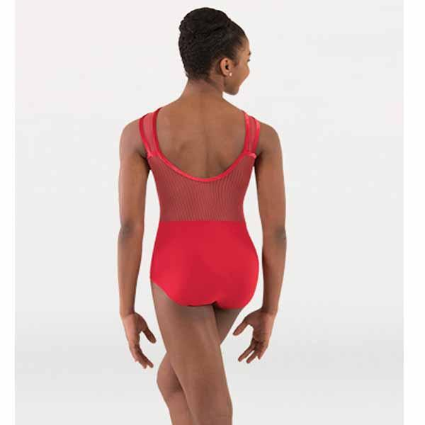 body wrappers p1230 girls tiler peck fine mesh strip cross-over front leotard scarlet back
