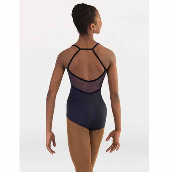 body wrappers p1231 womens tiler peck fine mesh stripe cami h-back leotard navy back