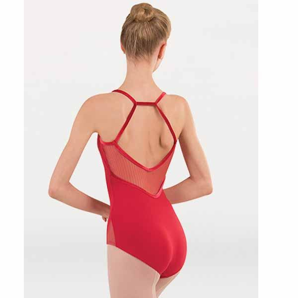body wrappers p1231 girls tiler peck fine mesh stripe cami h-back leotard scarlet back