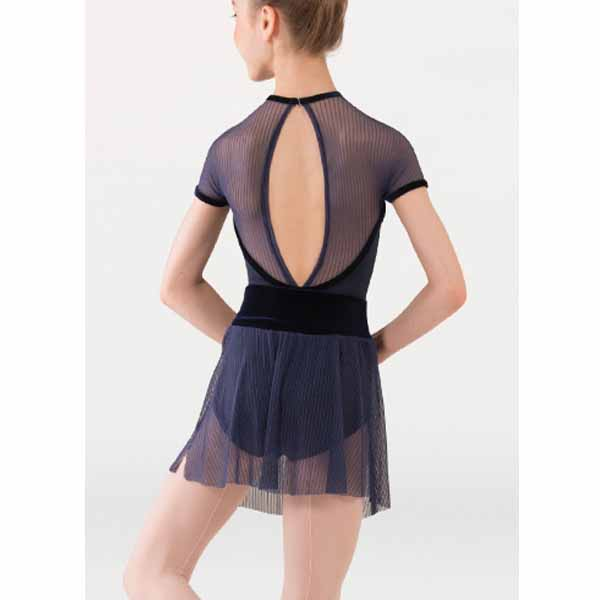 body wrappers p1232 girls tiler peck fine mesh stripe cap sleeve leotard black back