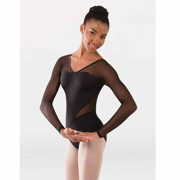 body wrappers p1233 womens tiler peck fine mesh stripe long sleeve leotard black