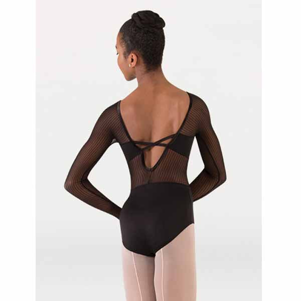 body wrappers p1233 womens tiler peck fine mesh stripe long sleeve leotard black back