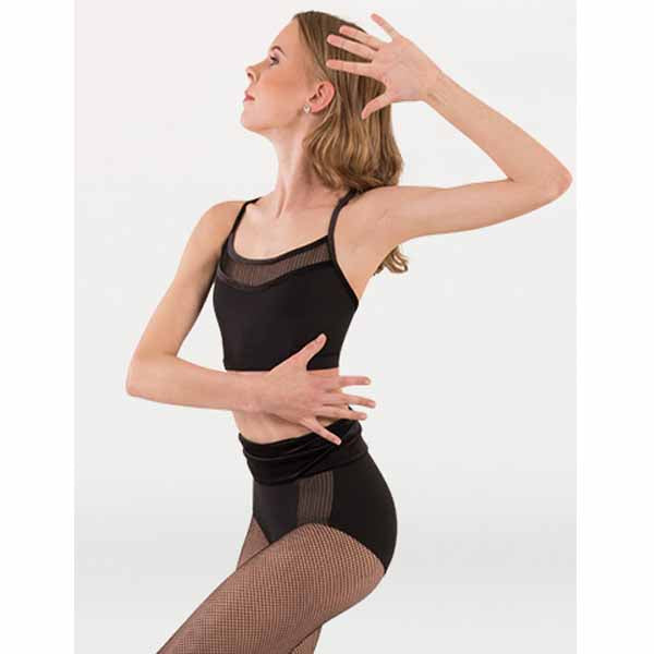 body wrappers p1234 womens tiler peck fine mesh stripe camisole bra black