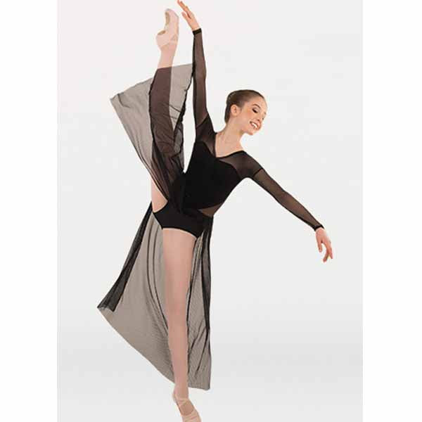 body wrappers p1237 girls tiler peck long sleeve dance dress black