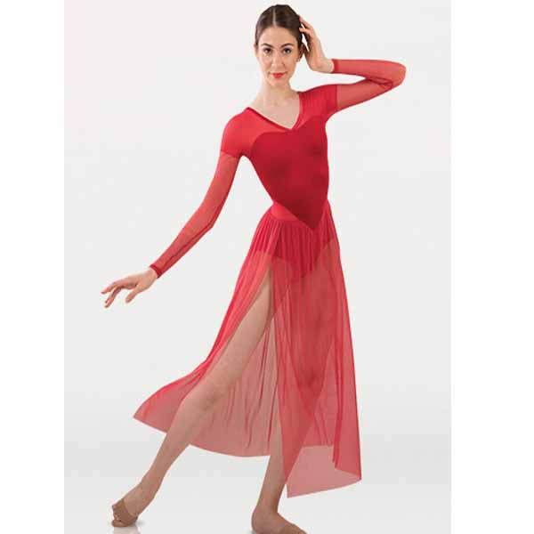 body wrappers p1237 womens tiler peck long sleeve dance dress Scarlet