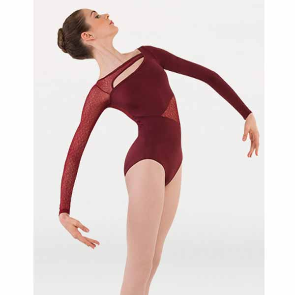 body wrappers p1242 womens tiler peck long sleeve leotard burgundy
