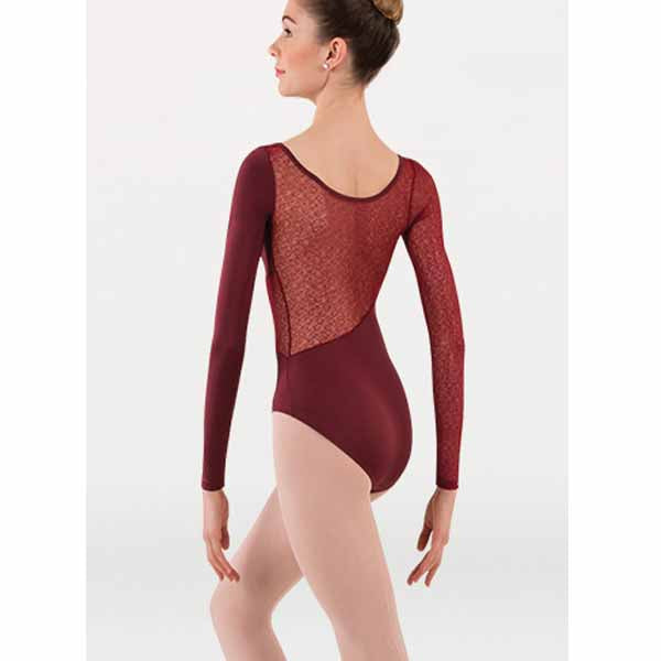 body wrappers p1242 womens tiler peck long sleeve leotard burgundy back