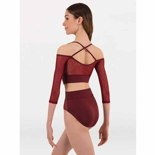body wrappers p1243 womans tiler peck 3/4 sleeve pullover burgundy back