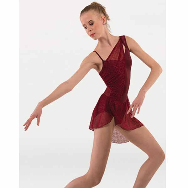 body wrappers p1245 womens tiler peck asymmetrical dance dress Burgundy