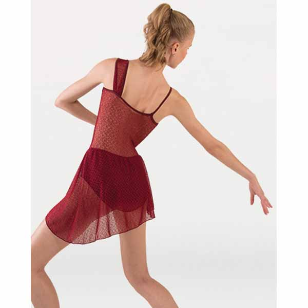 body wrappers p1245 girls tiler peck asymmetrical dance dress burgundy back