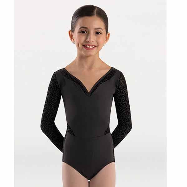 body wrappers p1250 girls tiler peck paisley floral burn-out flocked velvet long sleeve v-neck leotard center