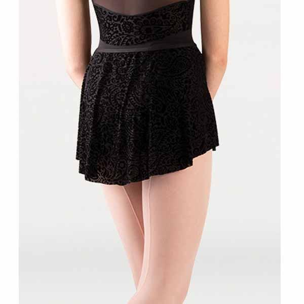 body wrappers p1252 womens tiler peck paisley floral burn-out flocked velvet flocked tapered skirt back