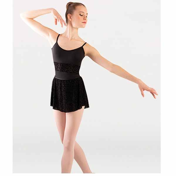 body wrappers p1252 womens tiler peck paisley floral burn-out flocked velvet flocked tapered skirt center
