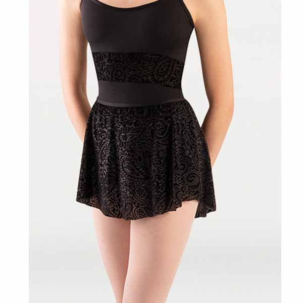 body wrappers p1252 womens tiler peck paisley floral burn-out flocked velvet flocked tapered skirt black