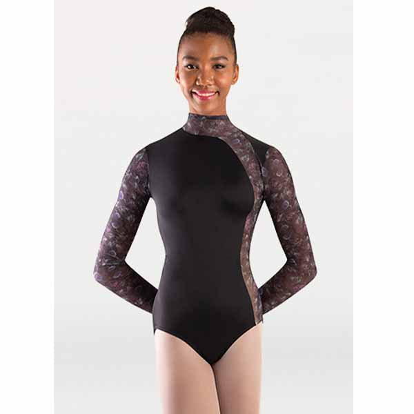 body wrappers p1303 womens tiler peck virginia blooms mock neck long sleeve leotard black