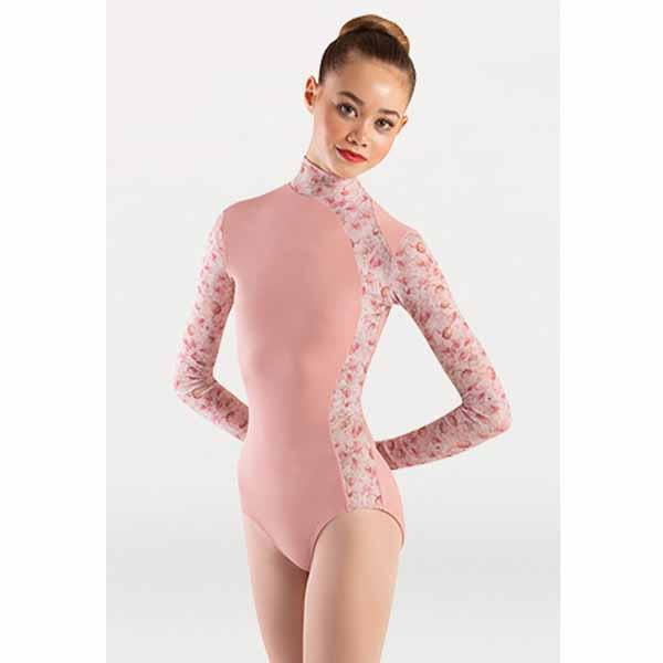 body wrappers p1303 girls tiler peck virginia blooms mock neck long sleeve leotard dusty rose