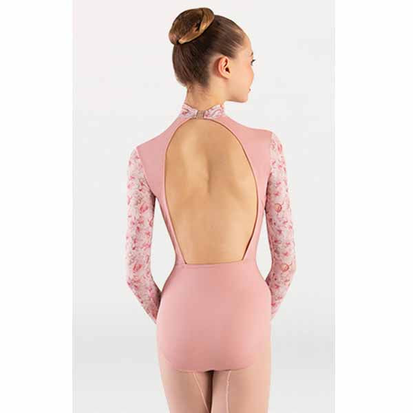 body wrappers p1303 womens tiler peck virginia blooms mock neck long sleeve leotard dusty rose back