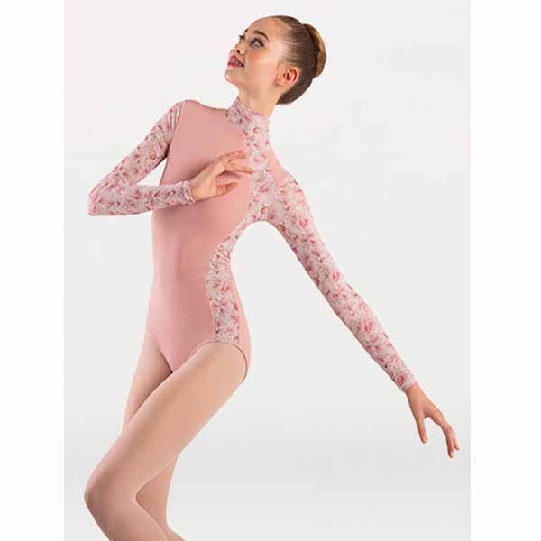 body wrappers p1303 womens tiler peck virginia blooms mock neck long sleeve leotard dusty rose dancer