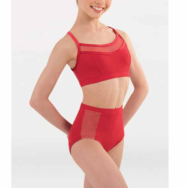 body wrappers p1235 girls tiler peck fine mesh stripe brief front