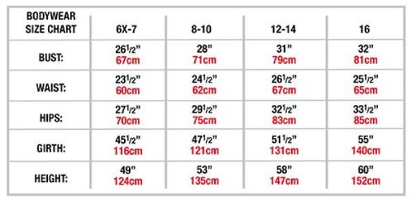 body wrappers 2417 girls frosty velvet camisole leotard child sizing chart