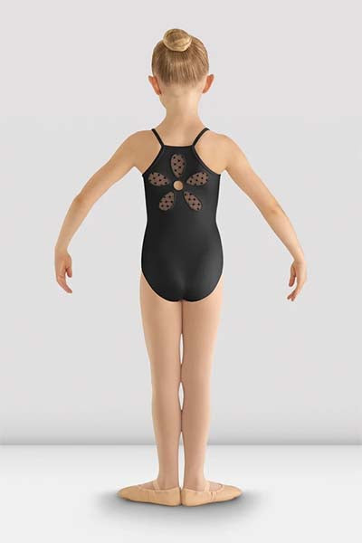 cl8097 Girls Begonia Flower Mesh Back Leotard black