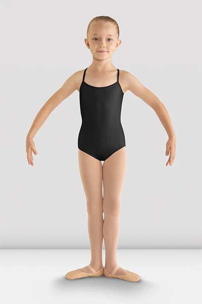 cl8097 Girls Begonia Flower Mesh Back Leotard black front
