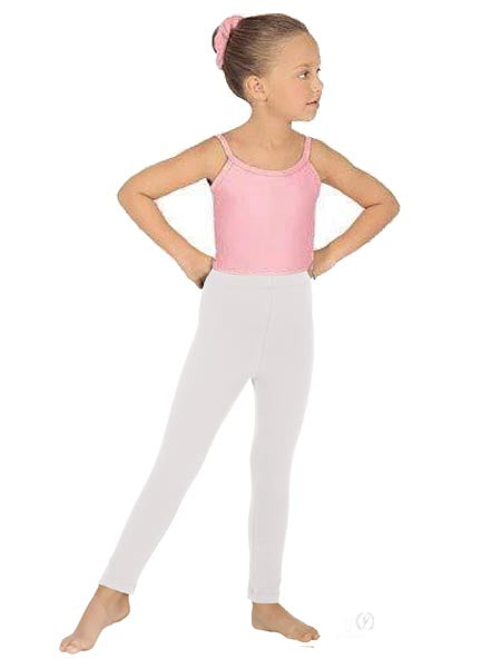 eurotard 1066 girls cotton lycra ankle leggings white