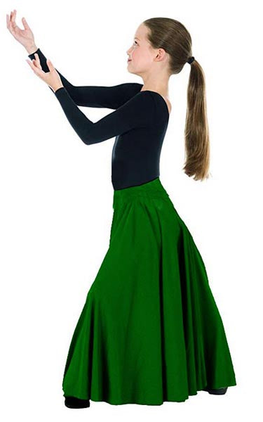 eurotard 13674 child simplicity triple panel skirt green