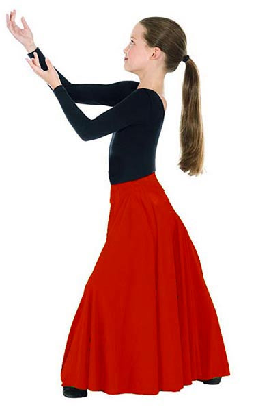 eurotard 13674 child simplicity triple panel skirt red